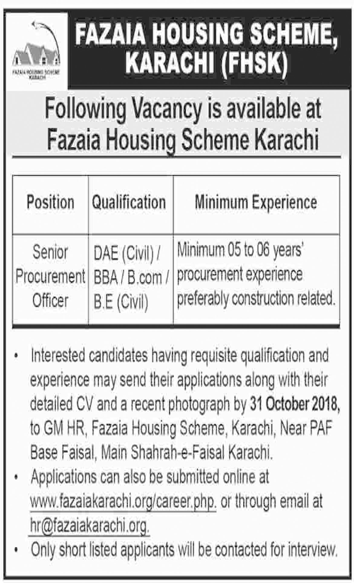 Jobs In Fazaia Housing Scheme 22 Oct 2018