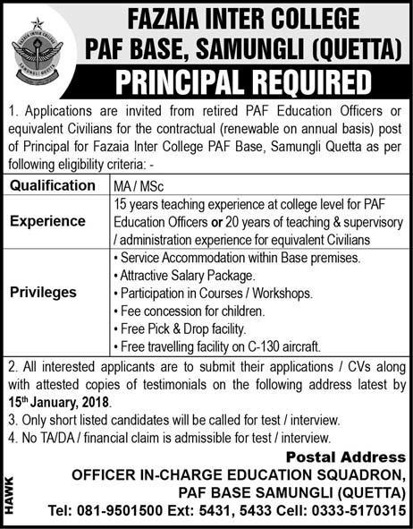 Jobs In Fazaia  Inter College PAF Base 03 Jan 2018
