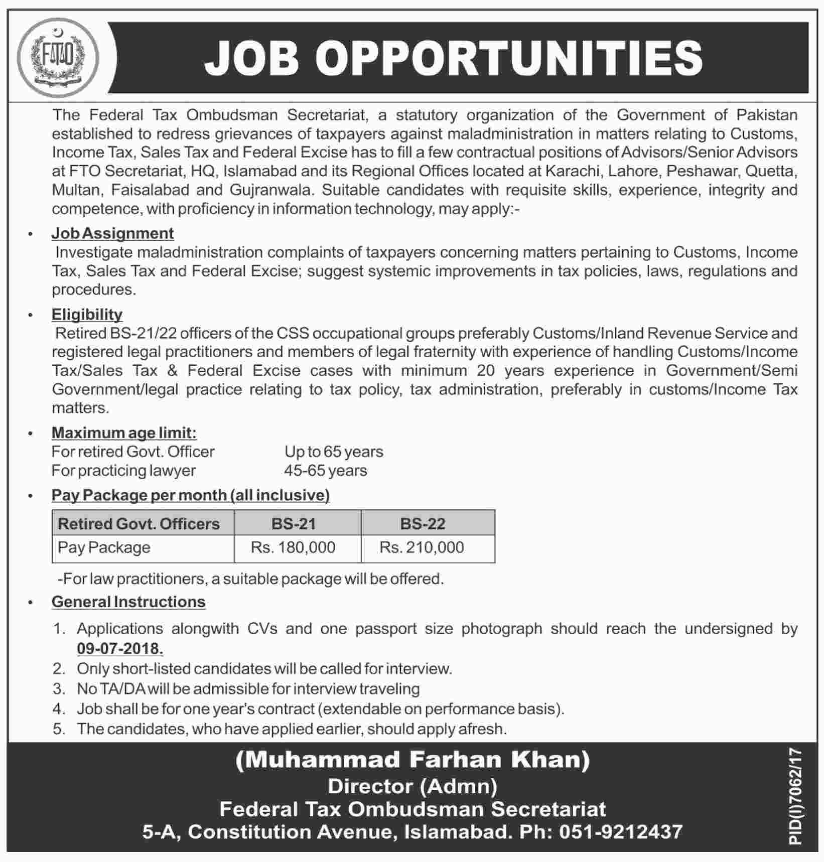 Jobs in Federal Tax Ombudsman 23 June 2018