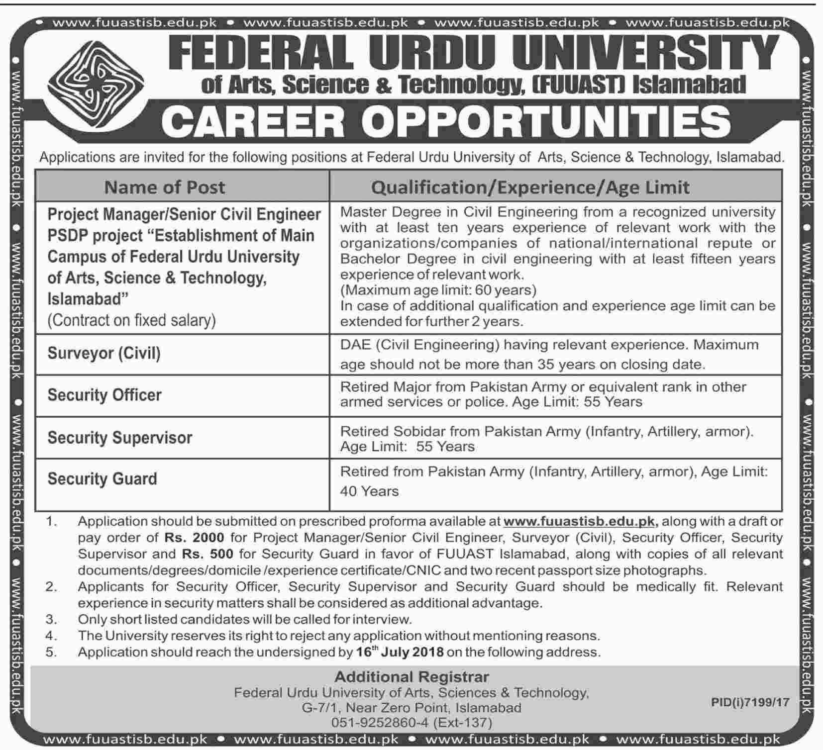 Jobs in Federal Urdu University 01 July 2018