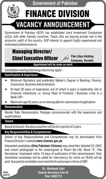 Jobs In Finance Division Government Of Pakistan 21 Mar 2018