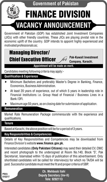 Jobs in Finance Division Karachi 22 March 2018