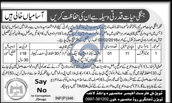 Jobs In Forest Department Of Khyber Pakhtunkhawa 26 Jan 2018