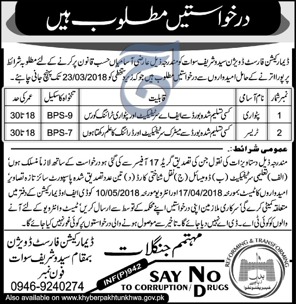 Jobs In Forest Department Of Saido Shareef Swat 23 Feb 2018