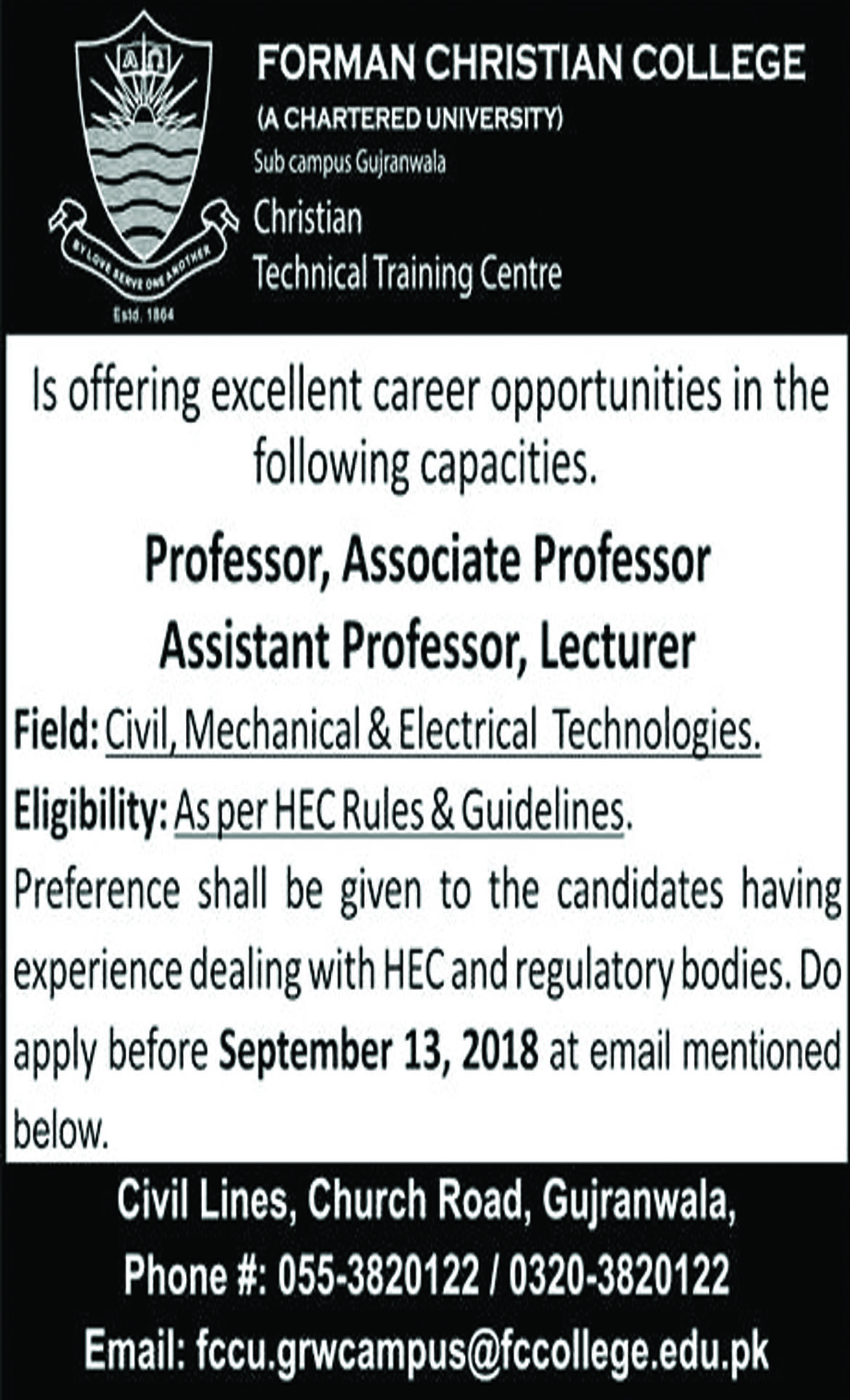 Jobs In Forman Christian College 06 Sep 2018
