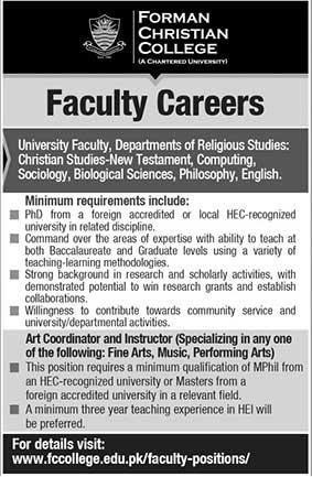 Jobs in Forman Christian College 14 June 2018