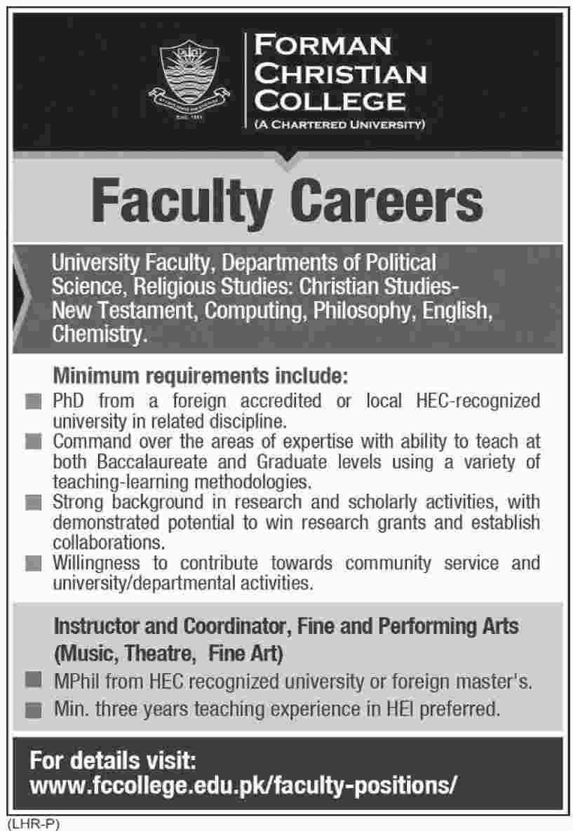 Jobs in Forman Christian College in Lahore 26 March 2018