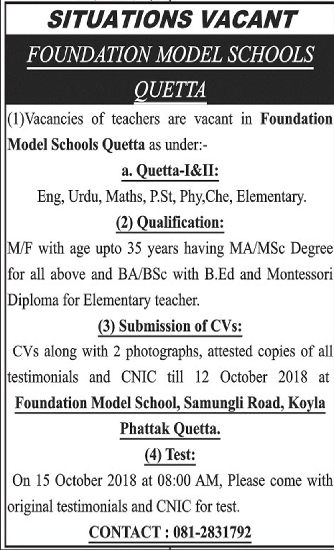 Jobs In Foundation Model Schools Quetta 10 Oct 2018