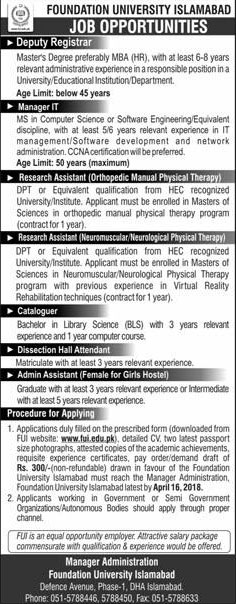 Jobs in Foundation University Islamabad 01 April 2018