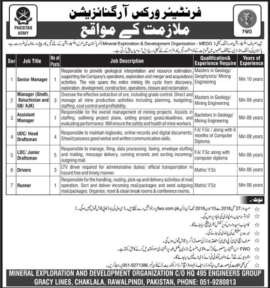 Jobs in Frontier Works Organization 27 May 2018