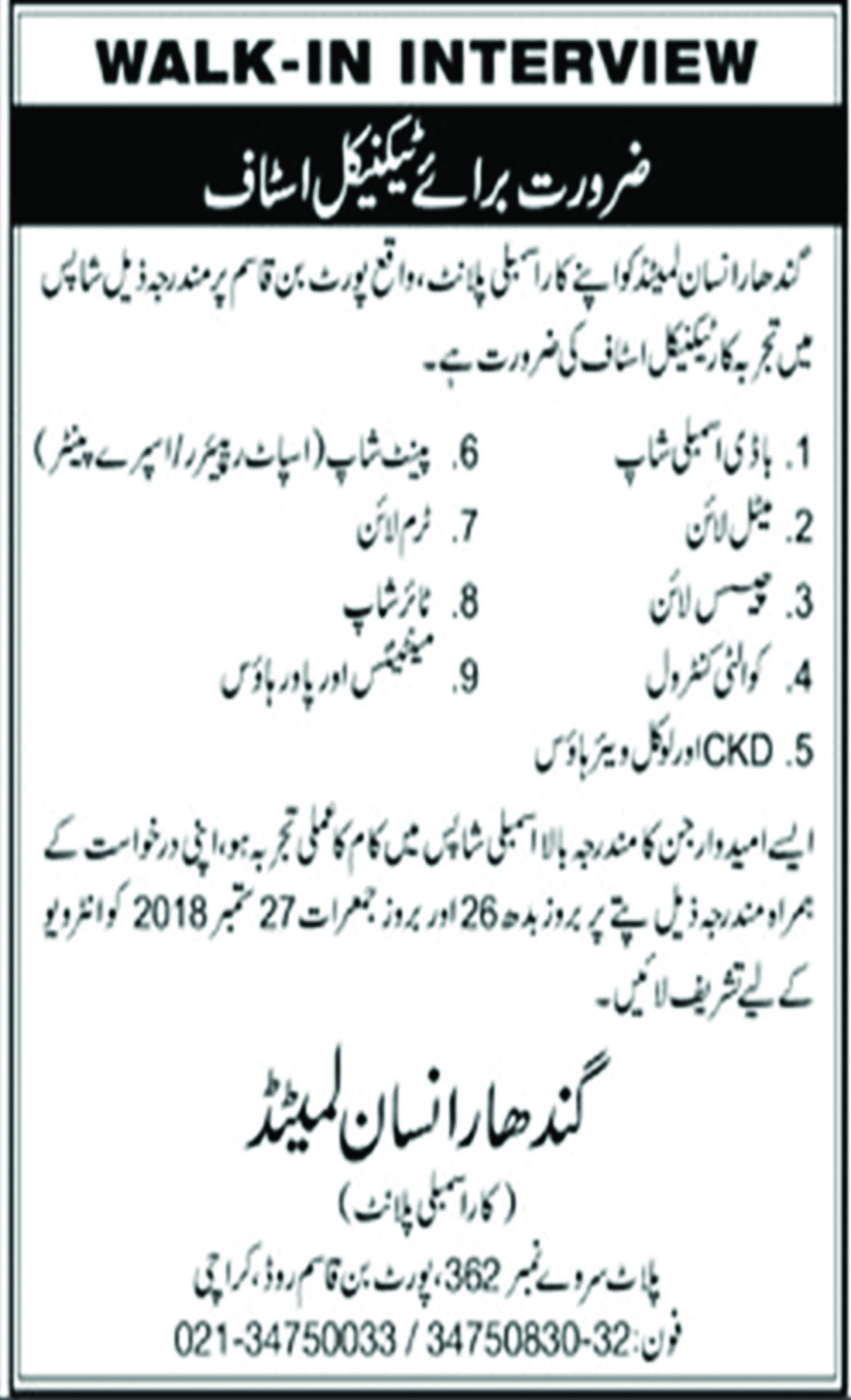 Jobs In Gandhara Insan Limited 24 Sep 2018