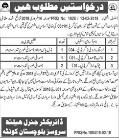 Jobs in General Health Services in Quetta 17 Feb 2018