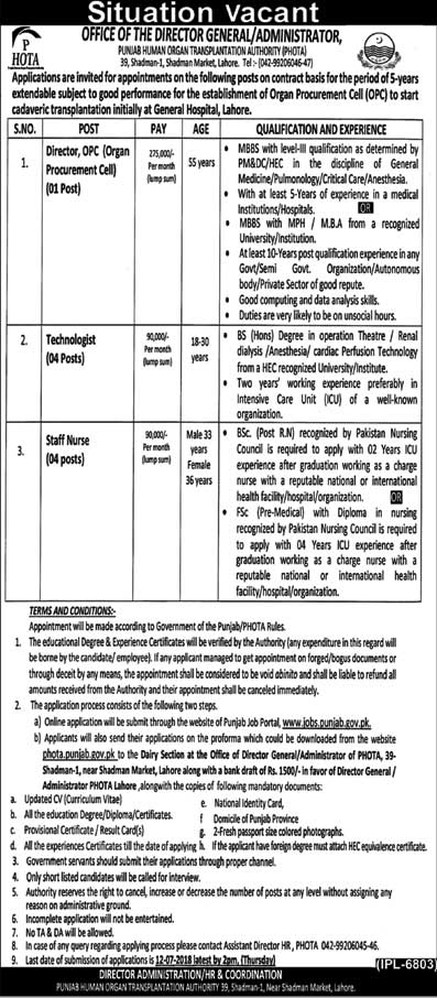 Jobs in General Hospital Lahore 30 June 2018