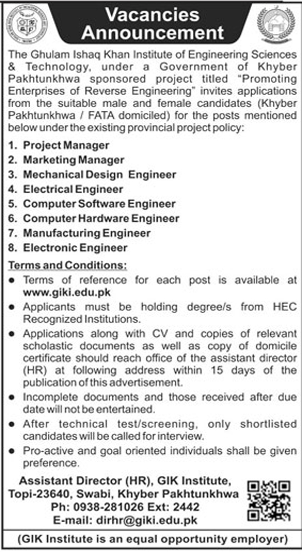 Jobs in Ghulam ishaq Khan Institute 28 Jan 2018