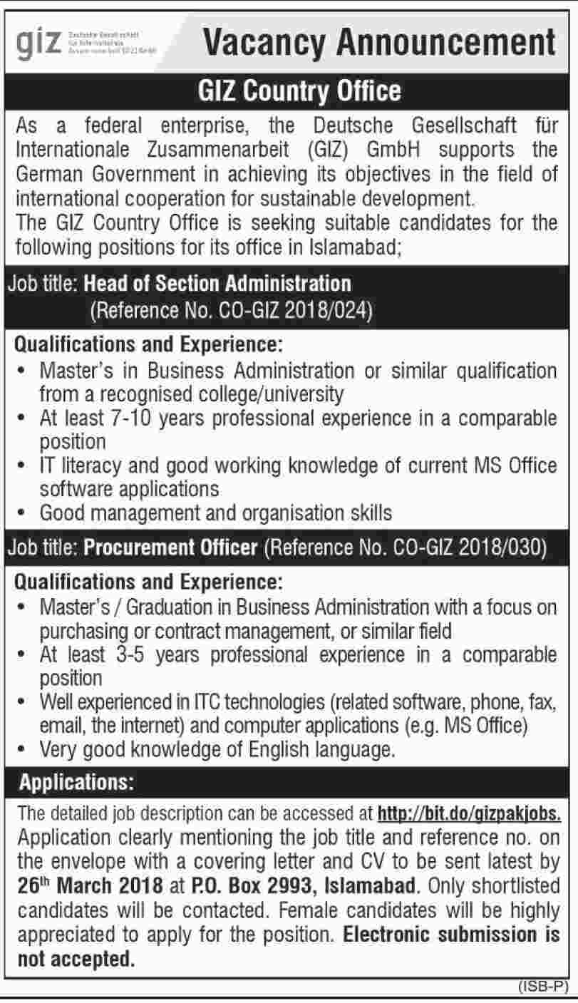 Jobs In GIZ Country Office Islamabad 09 Mar 2018