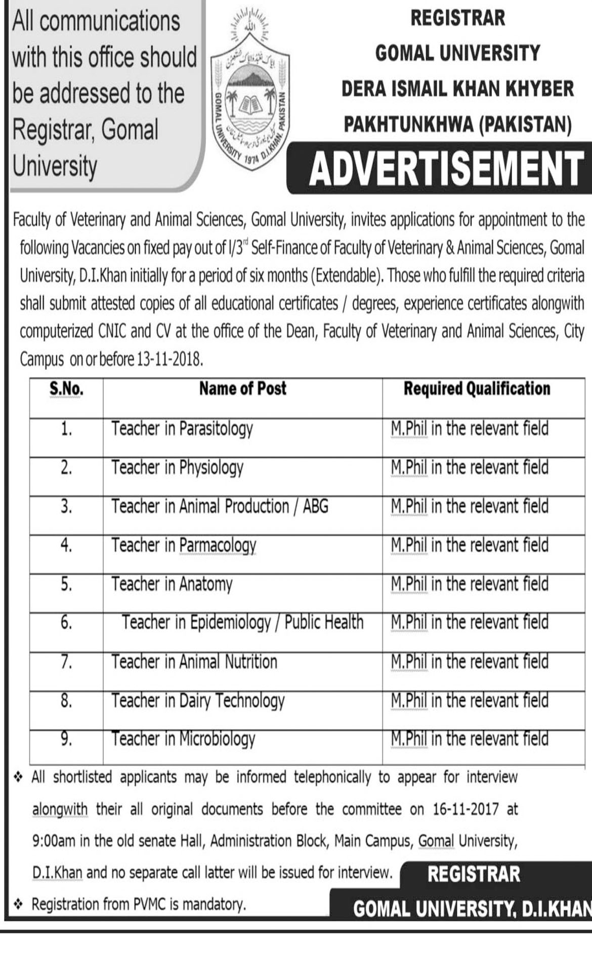 Jobs In Gomal University Dera Ismail Khan 09 Nov 2018