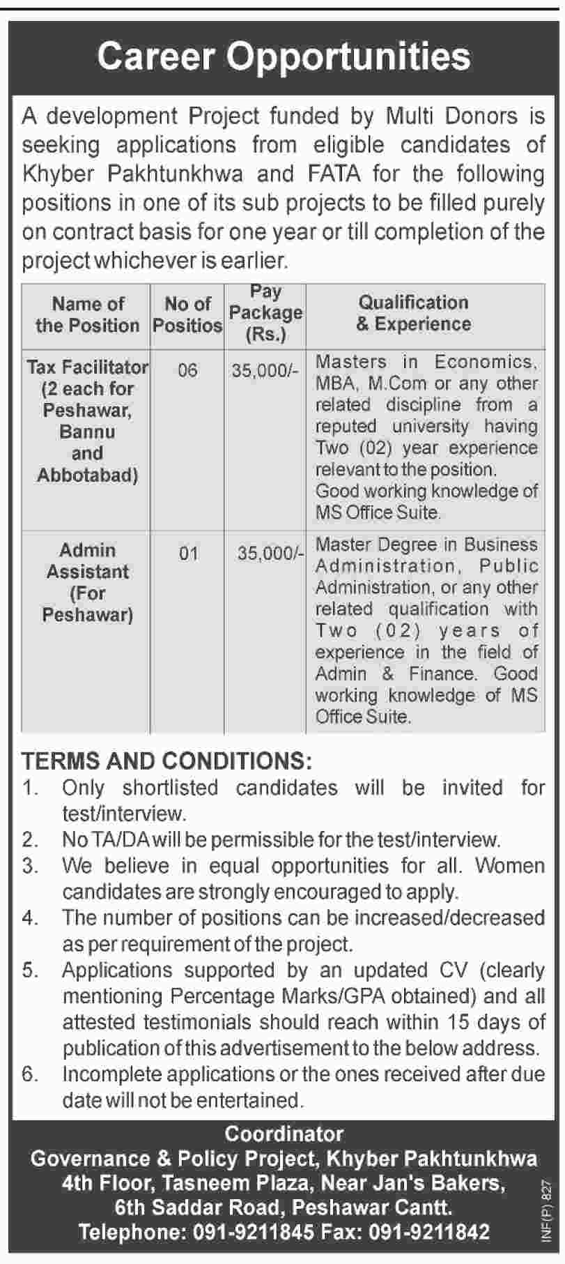 Jobs In Governance & Policy Project Khyber Pakhtunkhawa 17 Feb 2018