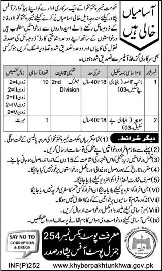 Jobs In Government Department Of Khyber Pakhtunkhawa 23 Jan 2018