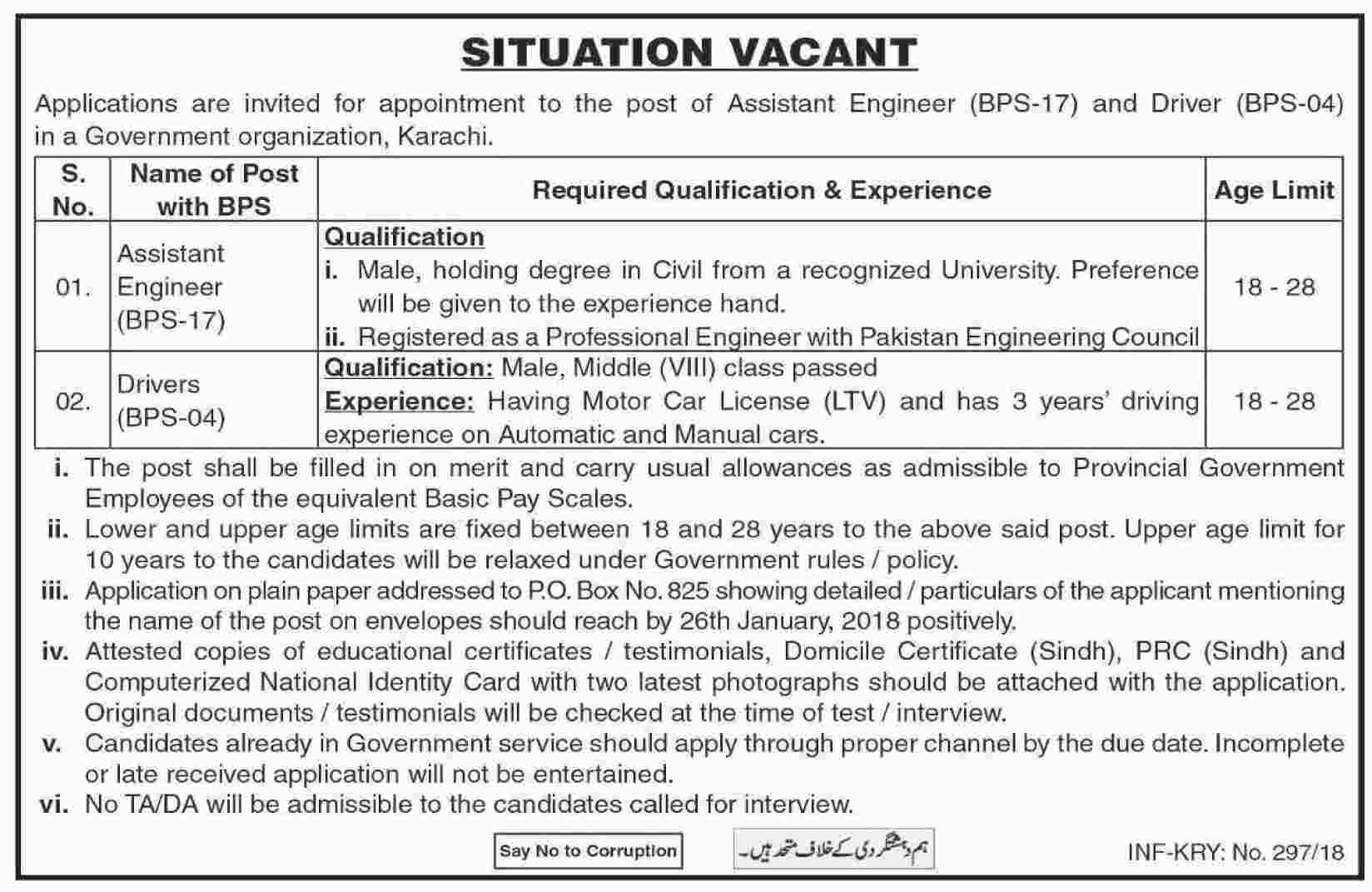 Jobs In Government Organization Karachi 19 Jan 2018