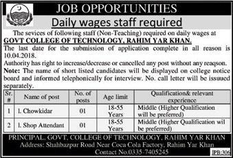 Jobs In Govt College Of Technology 22 Mar 2018