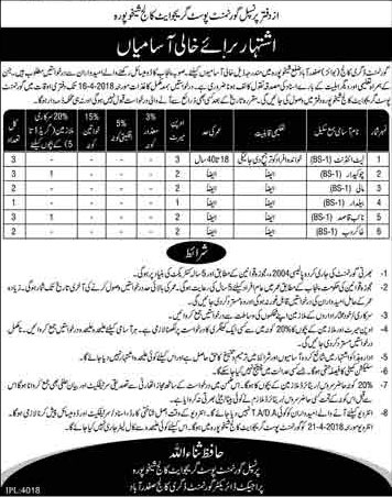 Jobs in Govt Degree College 30 March 2018