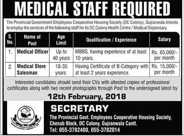 Jobs in Govt Employees Cooperative Housing Society Gujranwala 04 Feb 2018