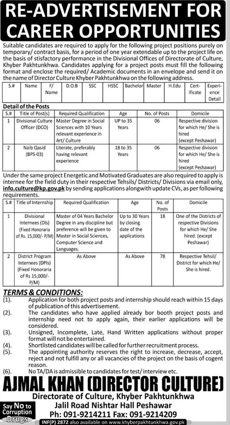 Jobs in Govt of KPK Directorate of Culture 04 June 2018
