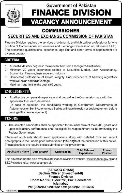 Jobs in Govt of Pakistan Finance Division 10 April 2018