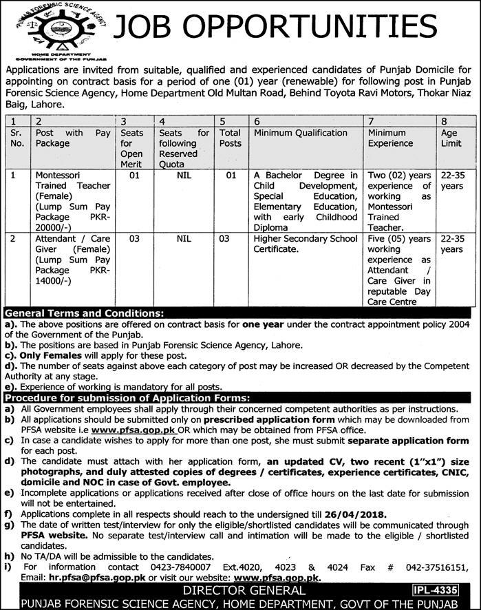 Jobs in Govt of Punjab Forensic Science Agency 08 April 2018