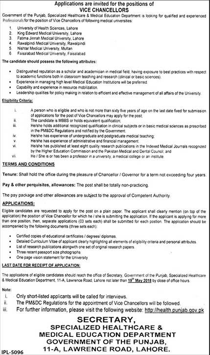Jobs in Govt of Punjab Healthcare & Medical Education Department 05 May 2018