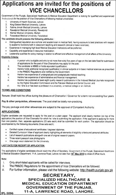 Jobs in Govt of Punjab Healthcare & Medical Education Department 06 May 2018