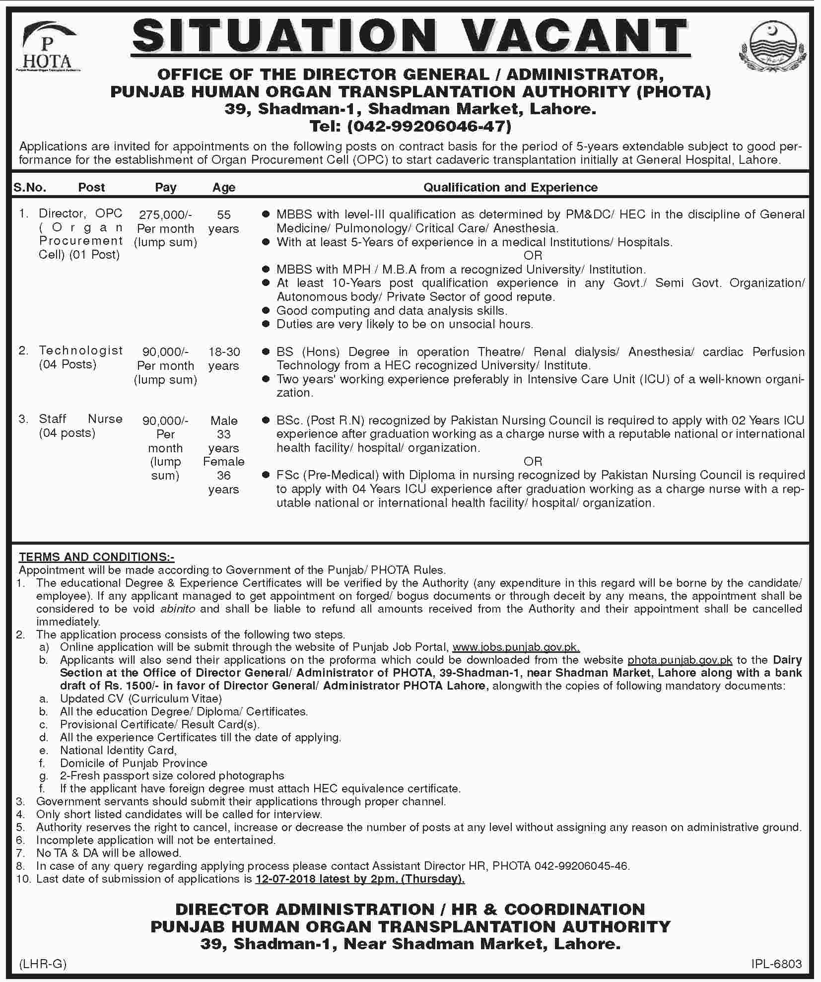 Jobs in Govt of Punjab Human Organ Transplantation Authority 02 July 2018