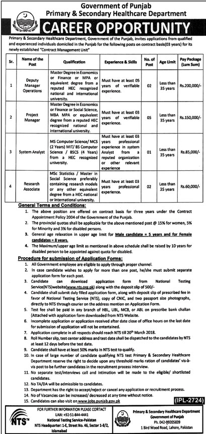 Jobs in Govt of Punjab Primary and Secondary Healthcare Department 01 March 2018
