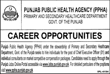 Jobs in Govt of Punjab Primary and Secondary Healthcare Department 06 April 2018