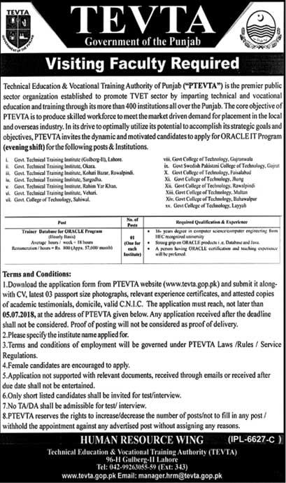 Jobs in Govt of Punjab Tevta 23 June 2018