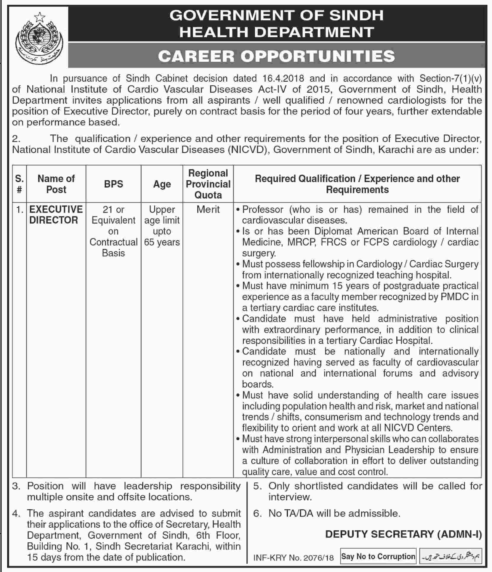 Jobs in Govt of Sindh Health Department 18 April 2018