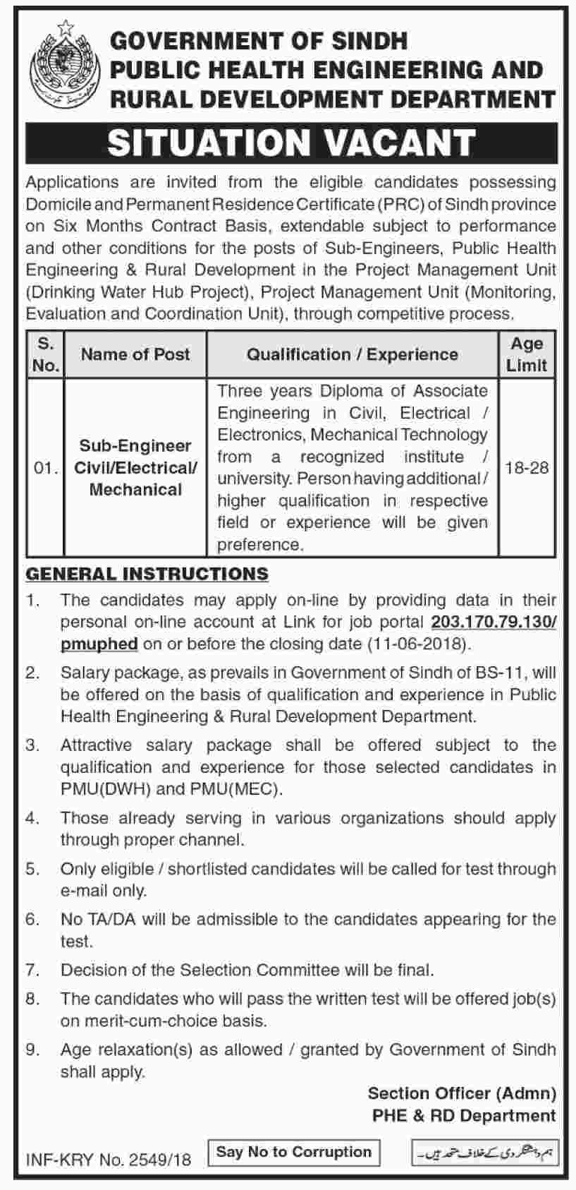 Jobs in Govt of Sindh Public Health Engineering and Rural Development Department 28 May 2018