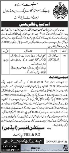 Jobs in Govt of Sindh Public Health Engineering & Rural Development Department 27 May 2018
