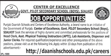Jobs in Govt Pilot Secondary School in Sialkot 16 Feb 2018