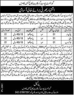 Jobs in Govt Post Graduate College of Commerce in Lahore 27 Feb 2018