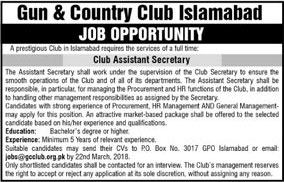 Jobs In Gun & Country Club Islamabad 13 Mar 2018