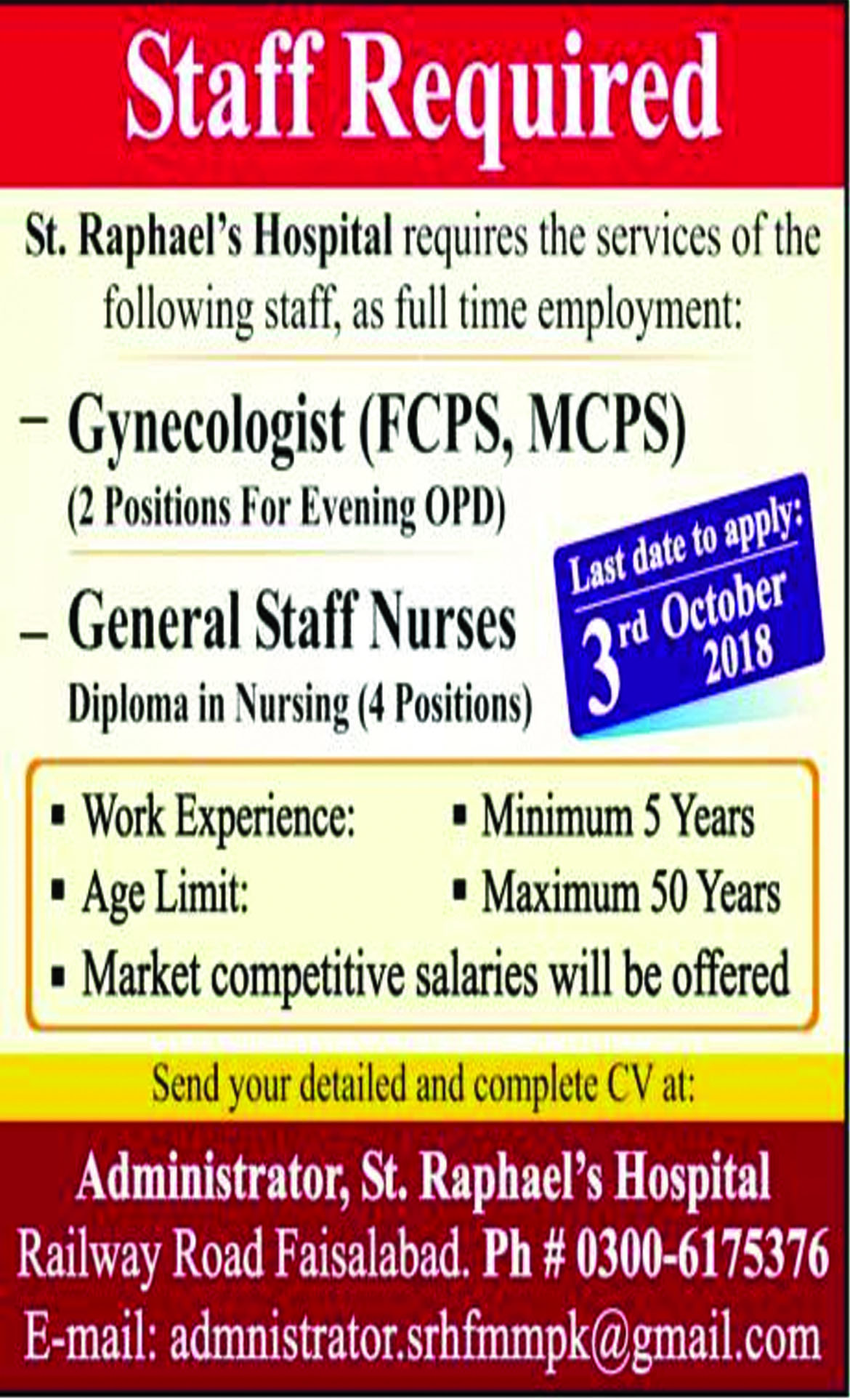 Jobs In Gynecologist, General Staff Nurses Required 26 Sep 2018