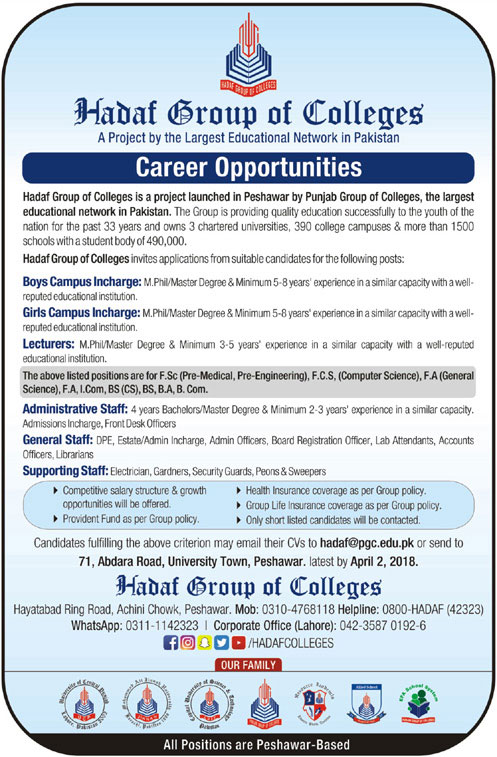 Jobs In Hadaf Group Of Colleges 25 Mar 2018