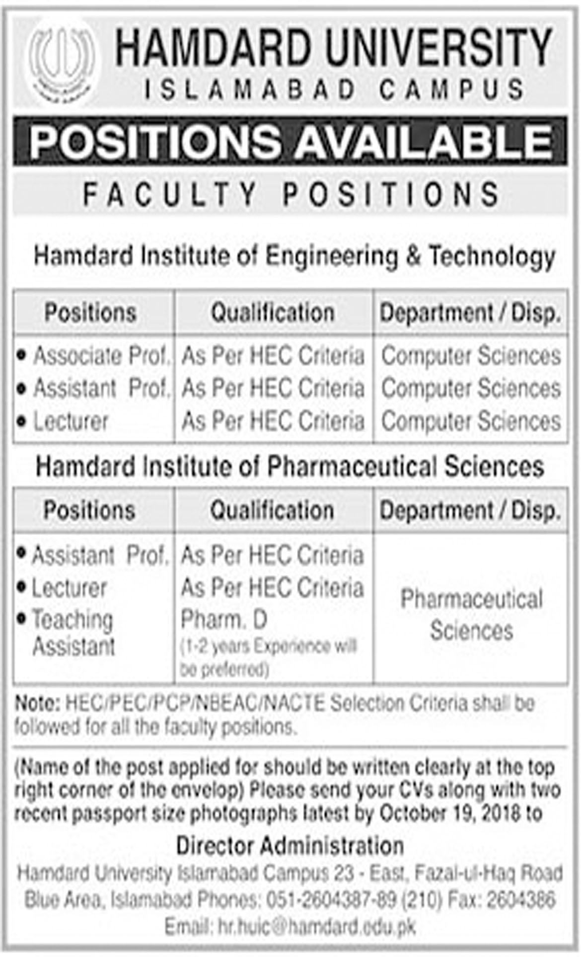 Jobs In Hamdard University 08 Oct 2018