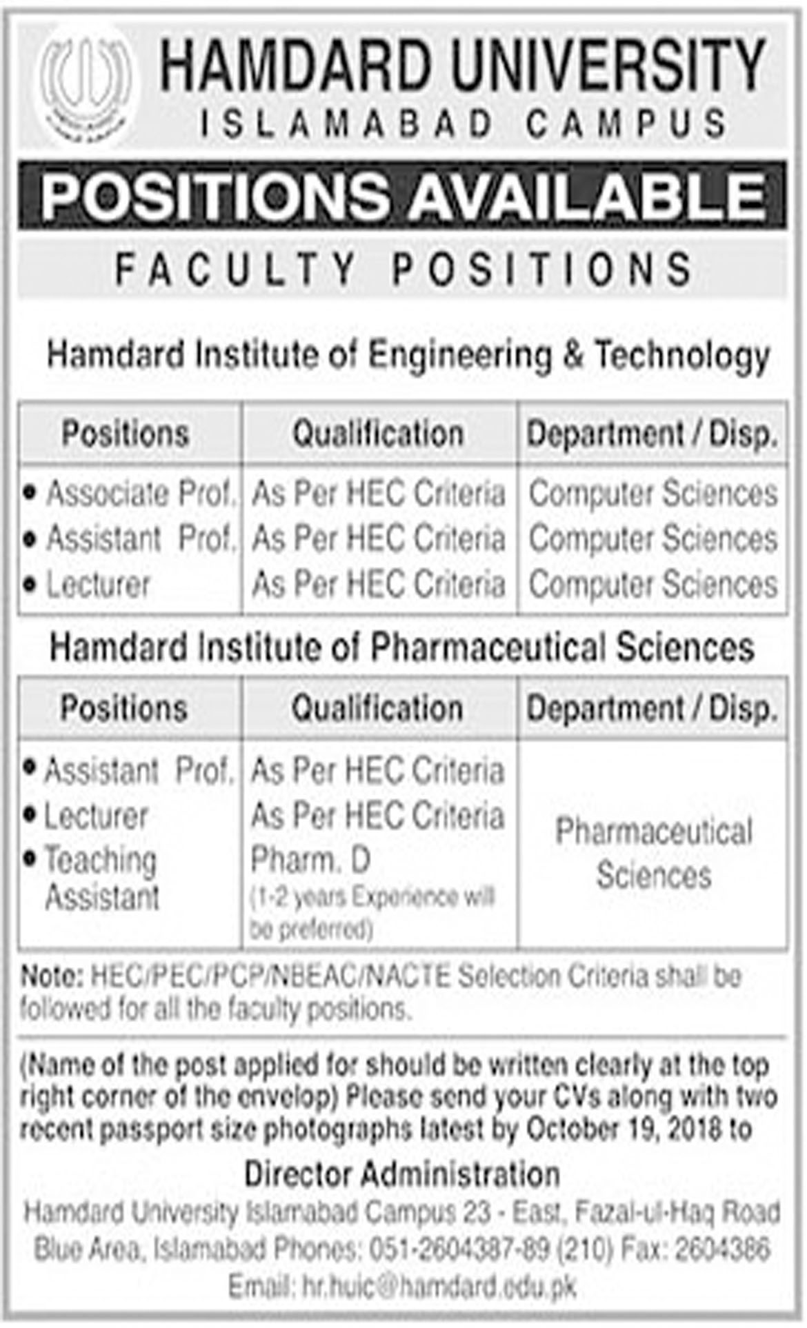 Jobs In Hamdard University 09 Oct 2018