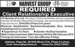 Jobs In Harvest Groups Lahore 26 Feb 2018