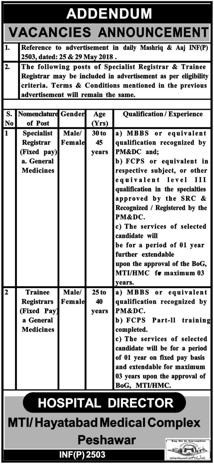 Jobs in Hayatabad Medical Complex 07 June 2018