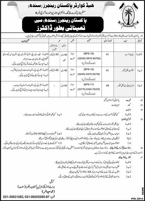 Jobs in Headquarter Pakistan Rangers Sindh 30 Jan 2018