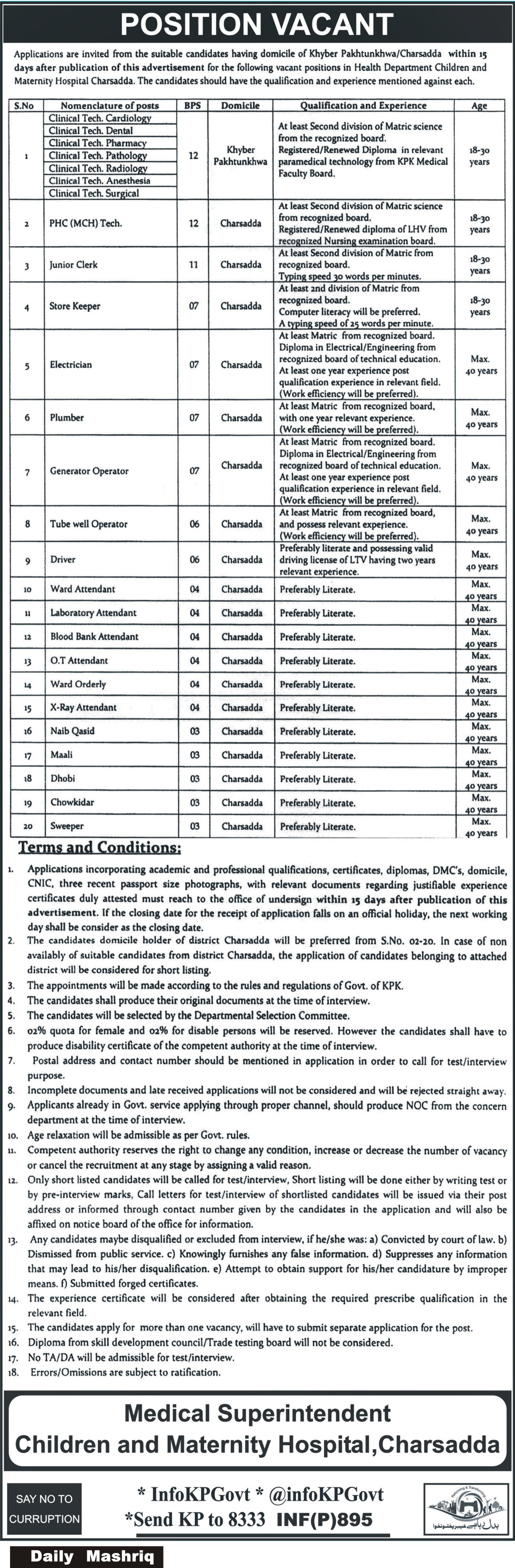 Jobs In Health Department Children And Maternity Hospital 23 Feb 2018