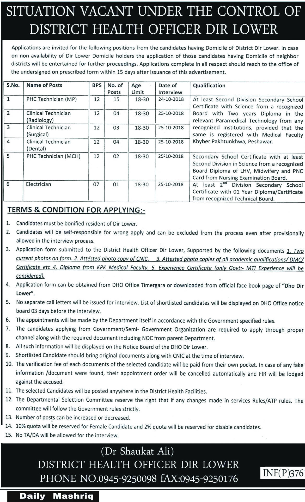 Jobs In Health Department Govt OF Khyber Pakhtunkhwa 27 Sep 2018